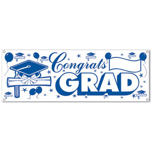 Congrats Blue & White Grad Sign Banner