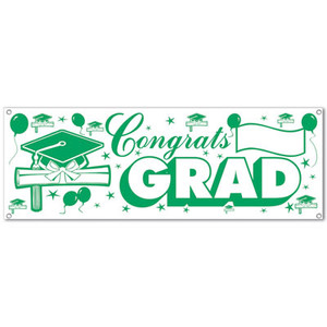 Congrats Green & White Grad Sign Banner
