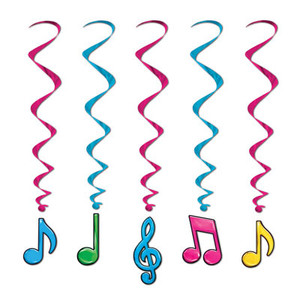Neon Musical Notes Whirls