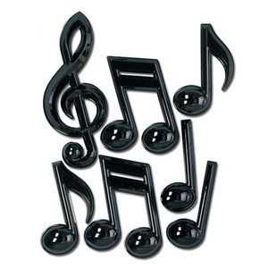 Black Plastic Musical Notes