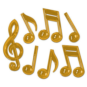 Gold Plastic Musical Notes