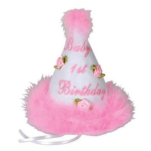 Baby's 1st Birthday Cone Hat - Pink