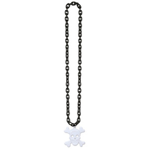 Chain Beads with Skull & Crossbones Medal