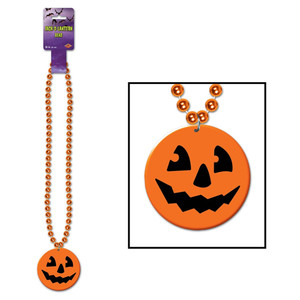 Beads with Printed Jack-O-Lantern Medallion