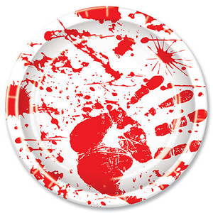 Bloody Handprints 9 Inch Plates