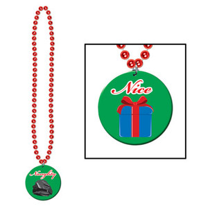 Beads with Printed Naughty or Nice Medallion