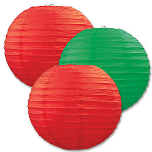 Assorted Red & Green Paper Lanterns