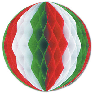 19-Inch Red, White and Green Decorative Tissue Ball
