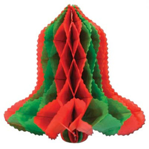 12-Inch Red and Green Tissue Bell