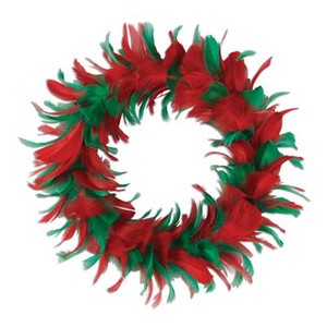 8-Inch Red and Green Feather Wreath
