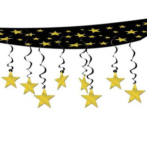 Black and Gold The Stars Are Out Ceiling Decor