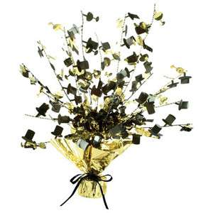 Black and Gold Champagne Glass & Top Hat Centerpiece