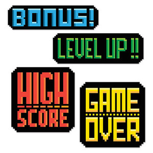 Multicolor 8-Bit Action Sign Cutouts