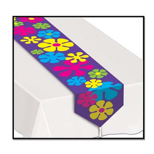 Printed Retro Flowers Table Runner