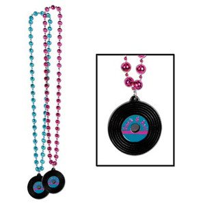Beads with Rock & Roll Record Medallion