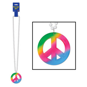 Beads with Tie-Dyed Peace Sign Medallion