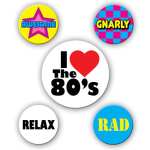 80's Party Buttons