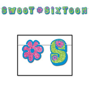 Glittered Sweet Sixteen Streamer - Blue/Light Green/Pink