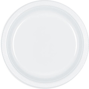 "Frosty White 10 1/4"" Plastic Dinner Plates - 20 ct."