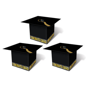 Grad Cap Favor Boxes-Black