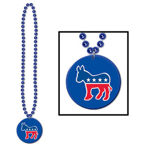 Beads w/Democratic Candidate Hillary Clinton Medallion