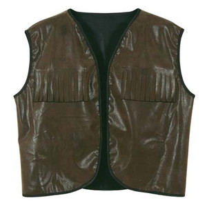 Faux Brown Leather Cowboy Vest w/Fringe