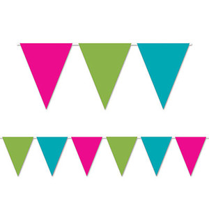 Cerise,Lime Green &Turquoise Pennant Banner