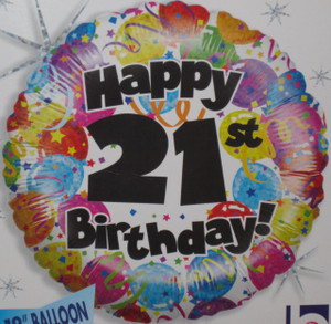 21St Party Birthday Holographic Foil Balloon