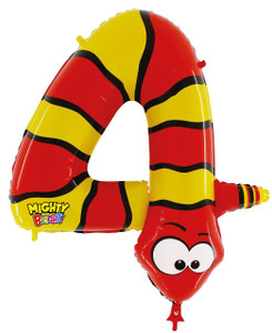 Mighty Number 4 Shaped Snake Balloon