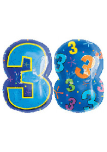 Jr Shape Number 3 Multicolored Balloon
