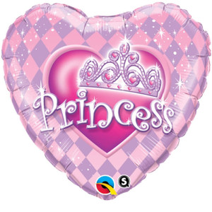 Princess Tiara Foil Heart Shaped Balloon