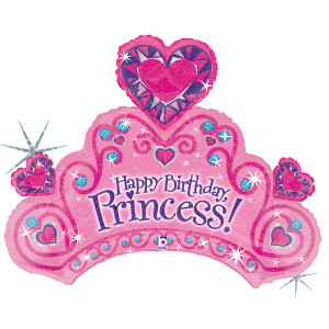 "34"" HAPPY BIRTHDAY PRINCESS CROWN SHAPED BALLOON"
