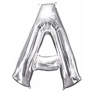 """33-Inch Giant Letter """"A"""" Silver Balloon"""