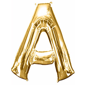 """33-Inch Giant Letter """"A"""" Gold Balloon"""