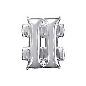33-Inch Giant Symbol Number Sign Silver Balloon