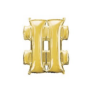 33-Inch Giant Symbol Number Sign Gold Balloon