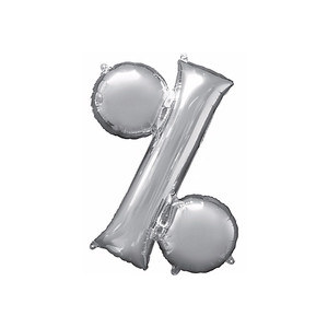 36-Inch Giant Symbol Percent Sign Silver Balloon