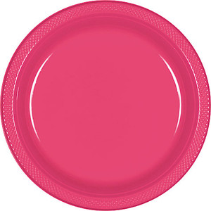 "Bright Pink 9"" Plastic Lunch Plates - 20 ct."