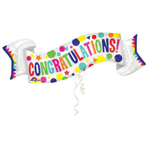 40-Inch Congratulations Banner Shaped Balloon