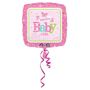 17-Inch Welcome Baby Girl Butterfly Square Balloon