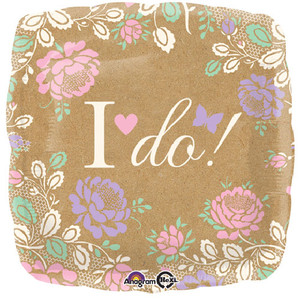 17-Inch I Do Square Balloon With Flowers
