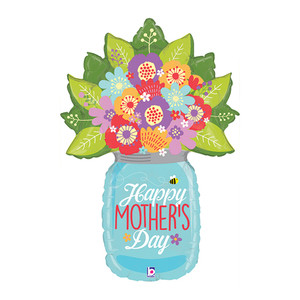 "40"" Happy Mother's Day Wildflower Jar Shaped Balloon"
