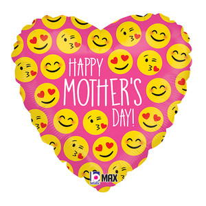"18"" Happy Mother's Day Emoji Faces Heart Shaped Balloon"