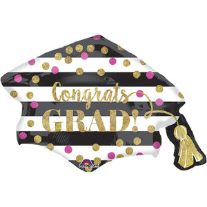 31-Inch Gold/Pink Confetti Grad Cap Shaped Balloon