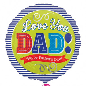 17-Inch Happy Father'S Day Dad Blue Stripes Balloon