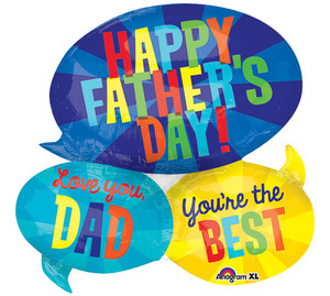 28-Inch Happy Fathers Day Message Bubbles Shaped Balloon