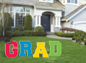 Multicolored Grad Stakes Yard Sign