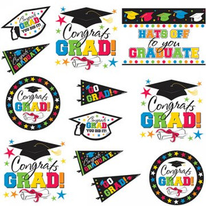 Multicolored Grad Party Wall Cutout Assortment 12 Piece