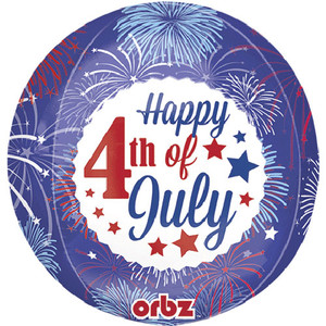 16-Inch 4Th Of July Fireworks Orbz Balloon