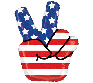 30-Inch Patriotic Peace Hand Shaped Balloon